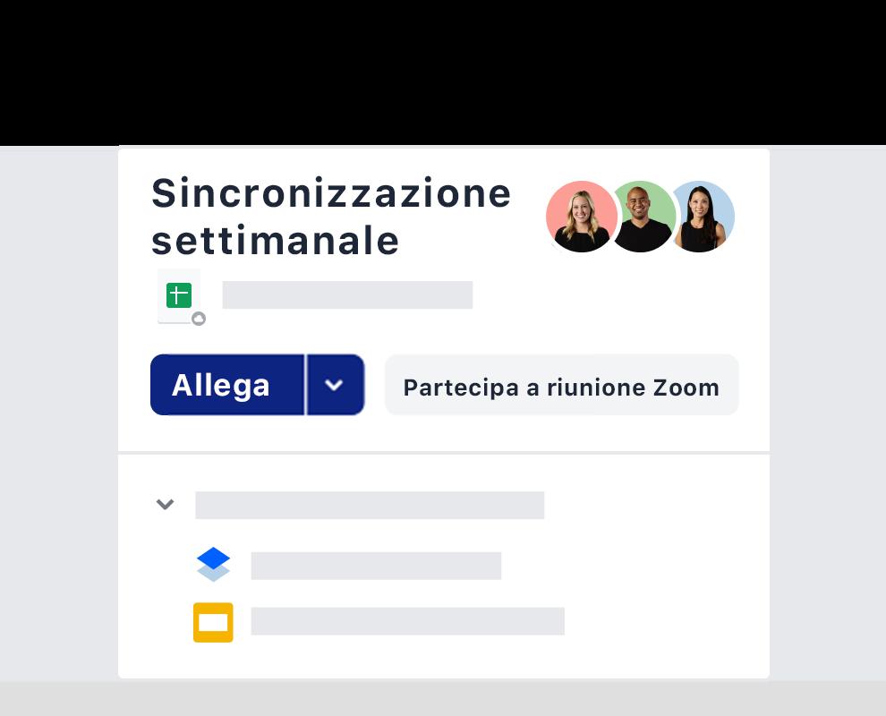 Un esempio di invito a una riunione settimanale utilizzando l'integrazione Zoom su Dropbox.