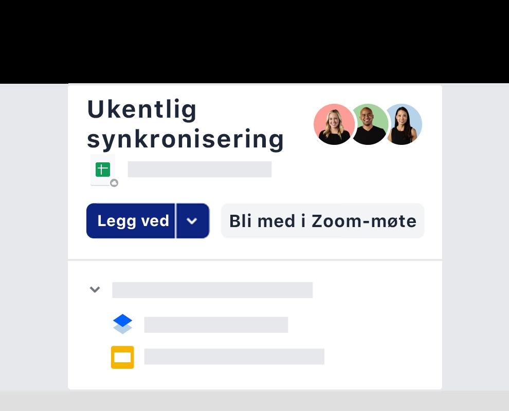 Et eksempel på en ukentlig møteinvitasjon ved hjelp av Zoom-integrasjonen på Dropbox.