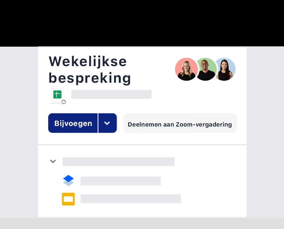 Een voorbeeld van een wekelijkse uitnodiging voor een vergadering via de Zoom-integratie op Dropbox.
