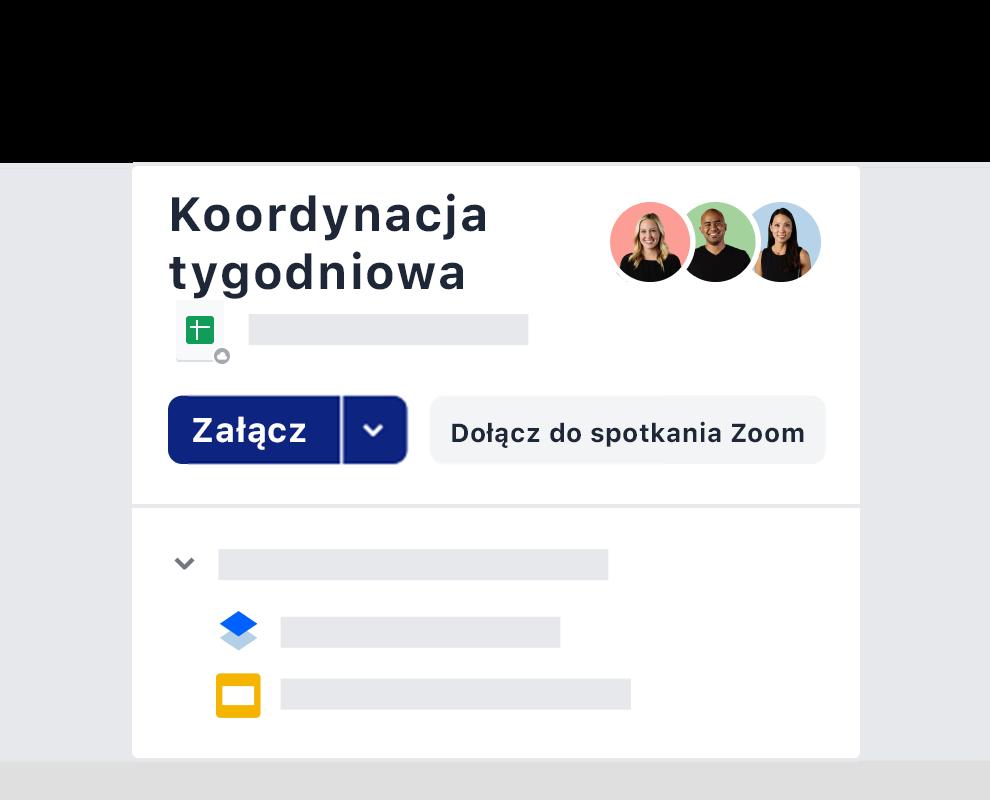 Przykład zaproszenia na cotygodniowe spotkanie, dzięki integracji z Zoom w Dropboxie.