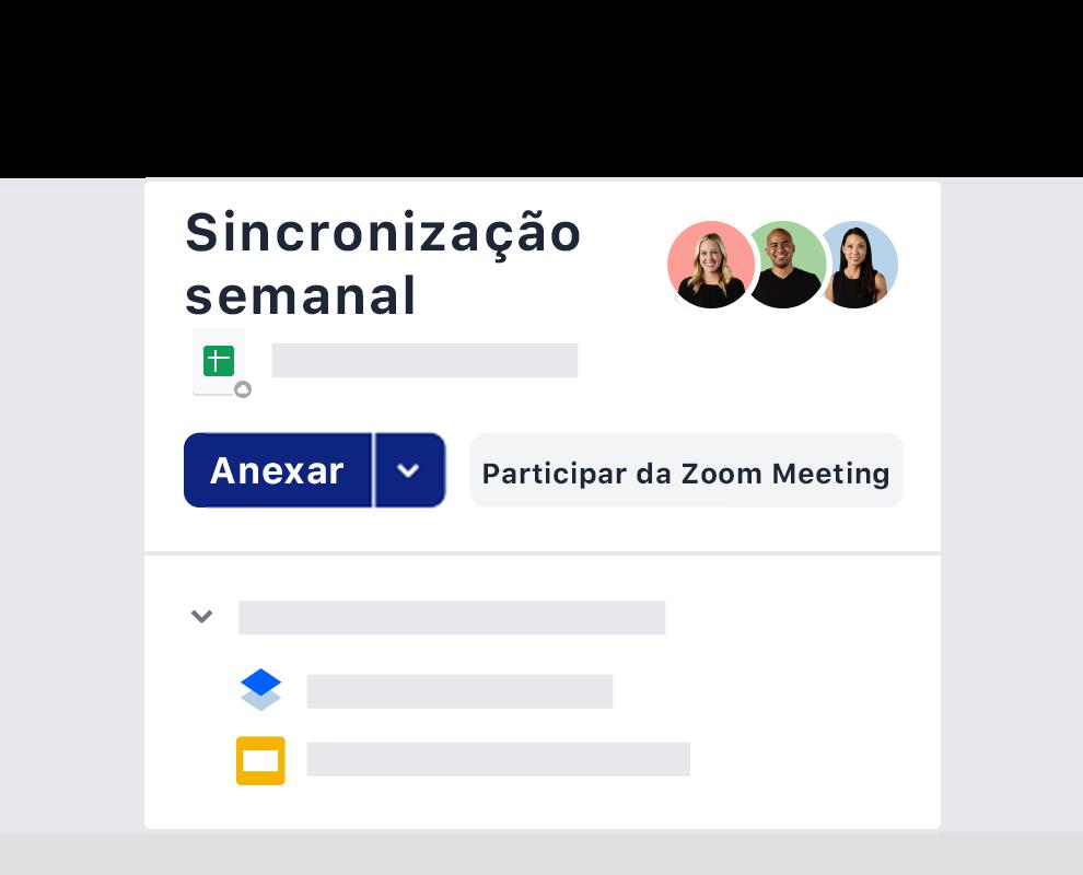 Um exemplo de um convite de reunião semanal usando a integração com o Zoom no Dropbox.