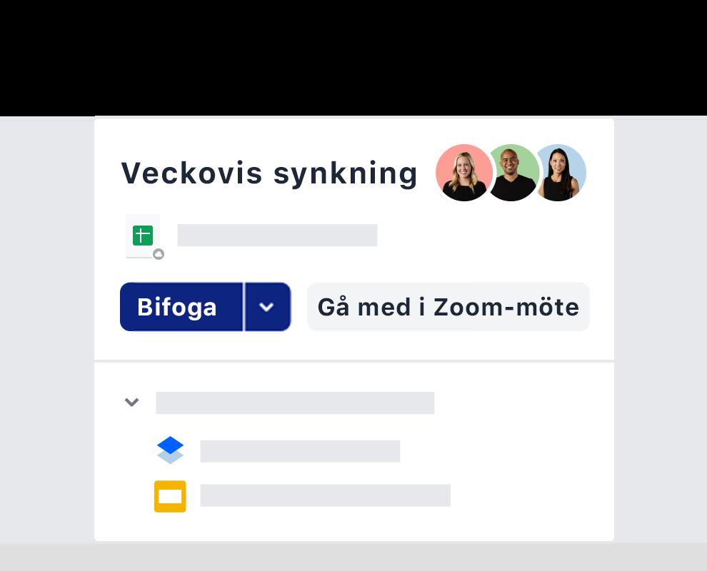 Ett exempel på en veckovis mötesinbjudan med Zoom-integrationen på Dropbox.