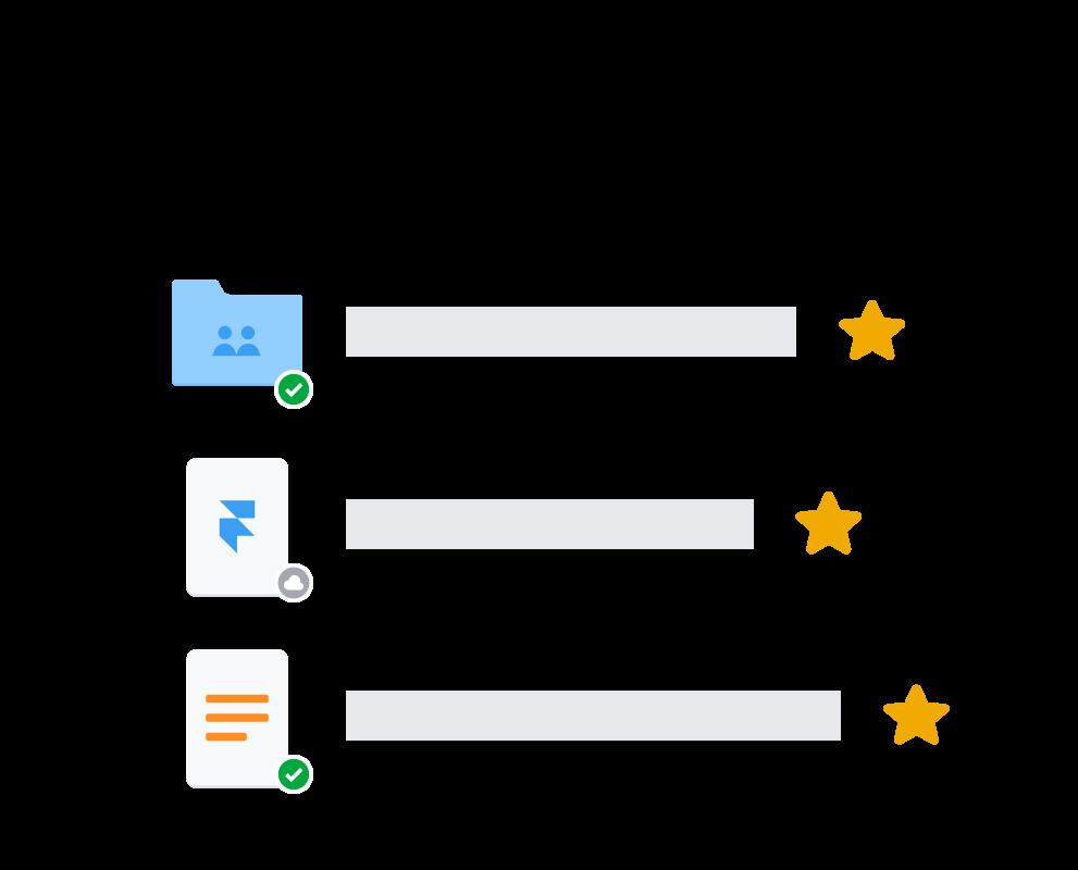 Icone delle cartelle Dropbox con le stelline per indicare le cartelle salvate.