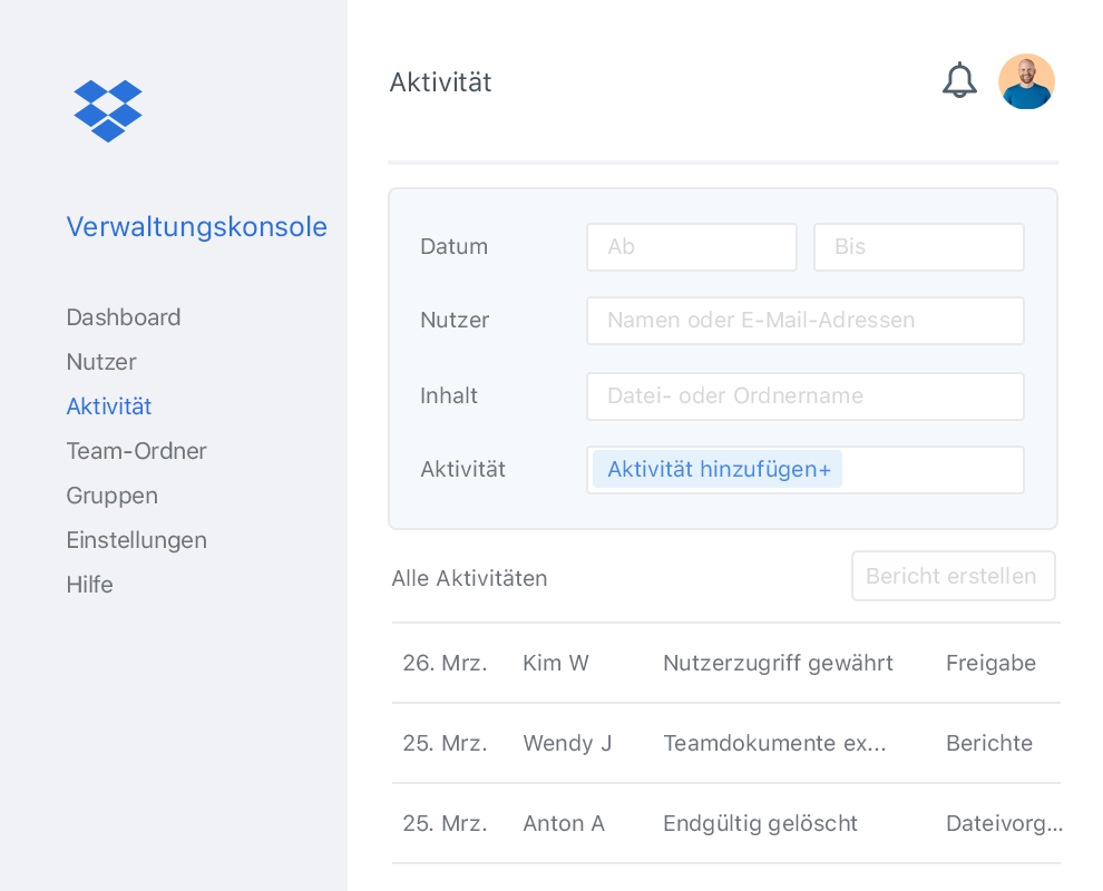 Die Verwaltungskonsole von Dropbox mit einer Beispielliste der Aktivitäten andere Nutzer in einem Dropbox-Team.