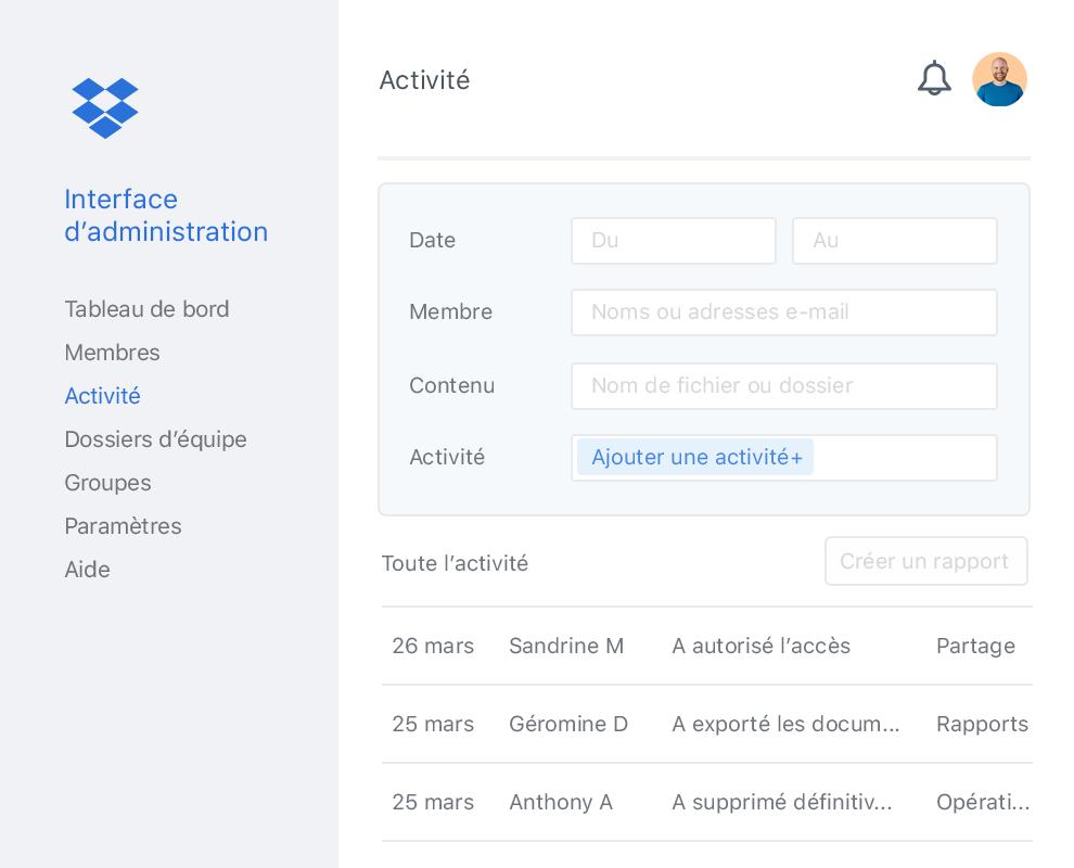 Interface d'administration Dropbox avec l'activité des membres d'une équipe Dropbox