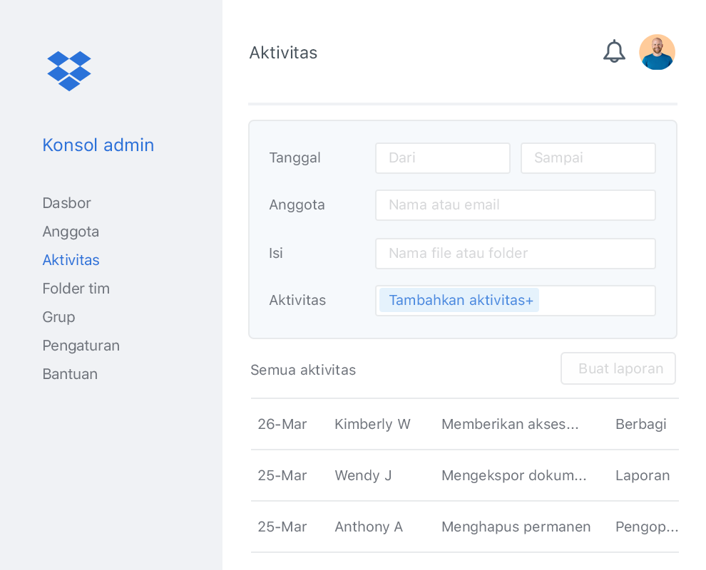 Konsol admin Dropbox dengan contoh daftar aktivitas kolaborator dalam tim Dropbox.