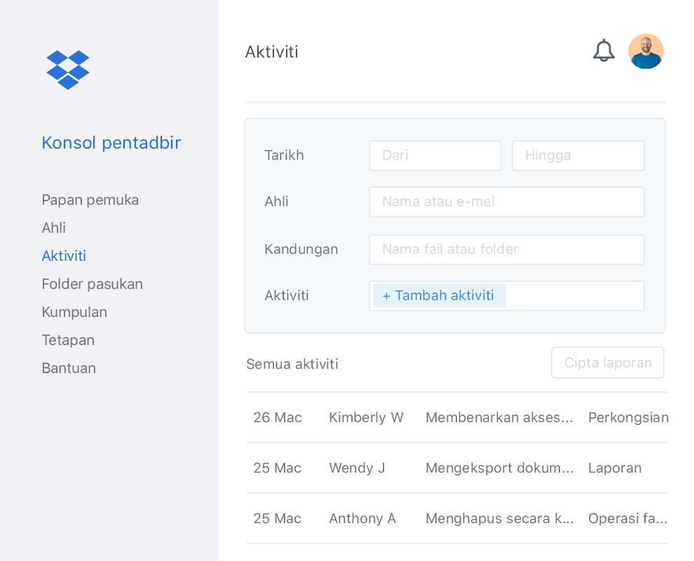 Konsol admin Dropbox dengan contoh senarai aktiviti kolaborator dalam pasukan Dropbox.