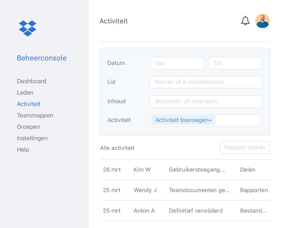 De beheerconsole van Dropbox met een voorbeeldlijst van samenwerkingsactiviteiten binnen een Dropbox-team.