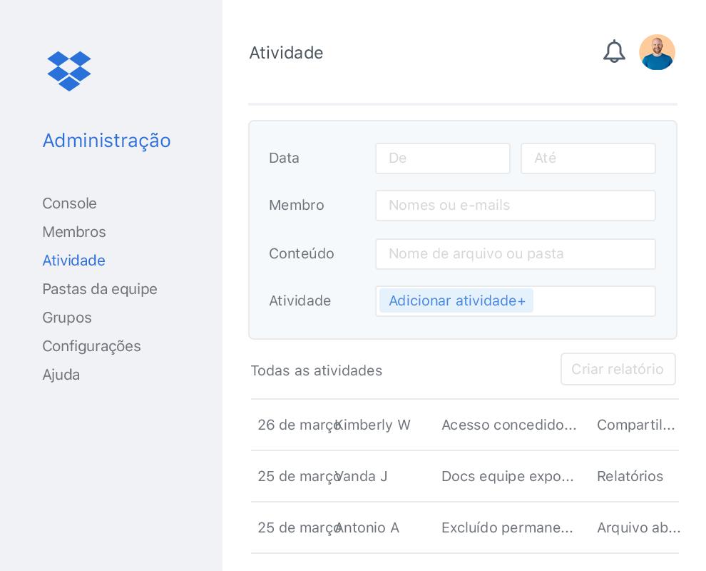 A Administração do Dropbox com um exemplo de lista de atividades de colaboradores dentro de uma equipe do Dropbox.