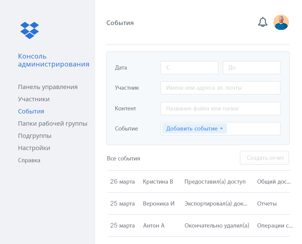 Консоль администрирования Dropbox с примером перечня действий участников рабочей группы в Dropbox.
