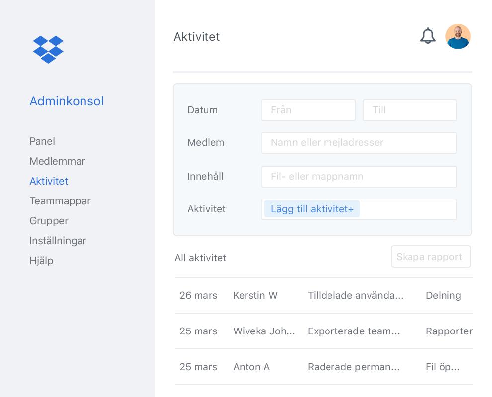 Dropbox-adminkonsol med en exempellista över samarbetsaktivitet inom ett Dropbox-team.