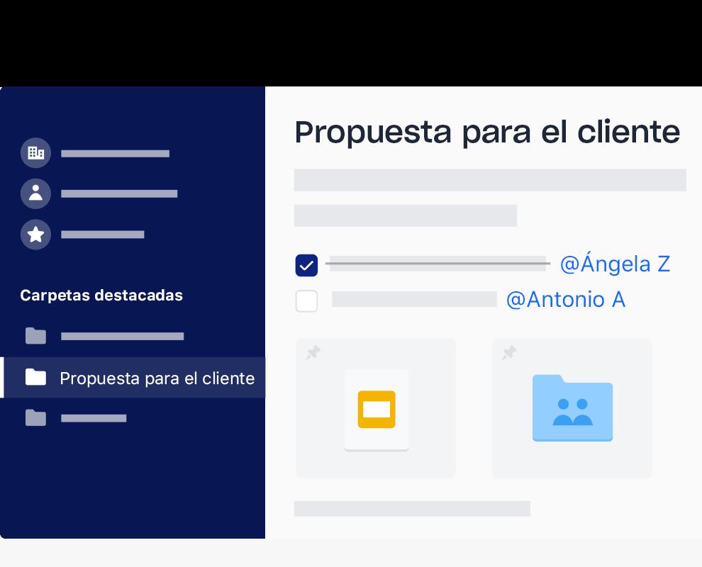 Ejemplo de la interfaz de Dropbox con una lista de tareas con elementos marcados y asignados a diferentes nombres.