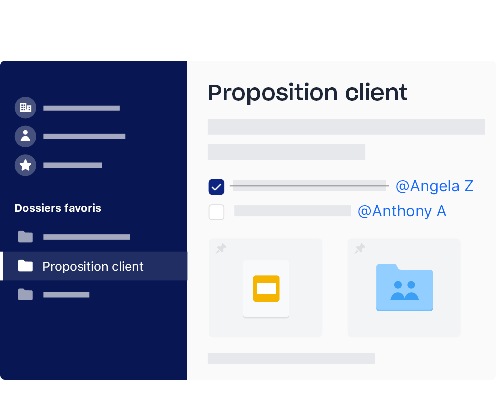 Interface Dropbox avec liste de tâches comportant des éléments cochés et attribués à différents noms