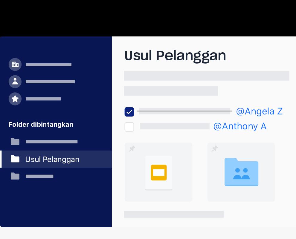 Antara muka Dropbox bagi contoh senarai tugasan dengan perkara ditanda dan ditugaskan kepada nama yang berbeza.