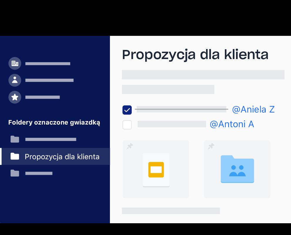 Interfejs Dropboxa z przykładową listą zadań z odznaczonymi pozycjami i zadaniami przypisanymi do konkretnej osoby.