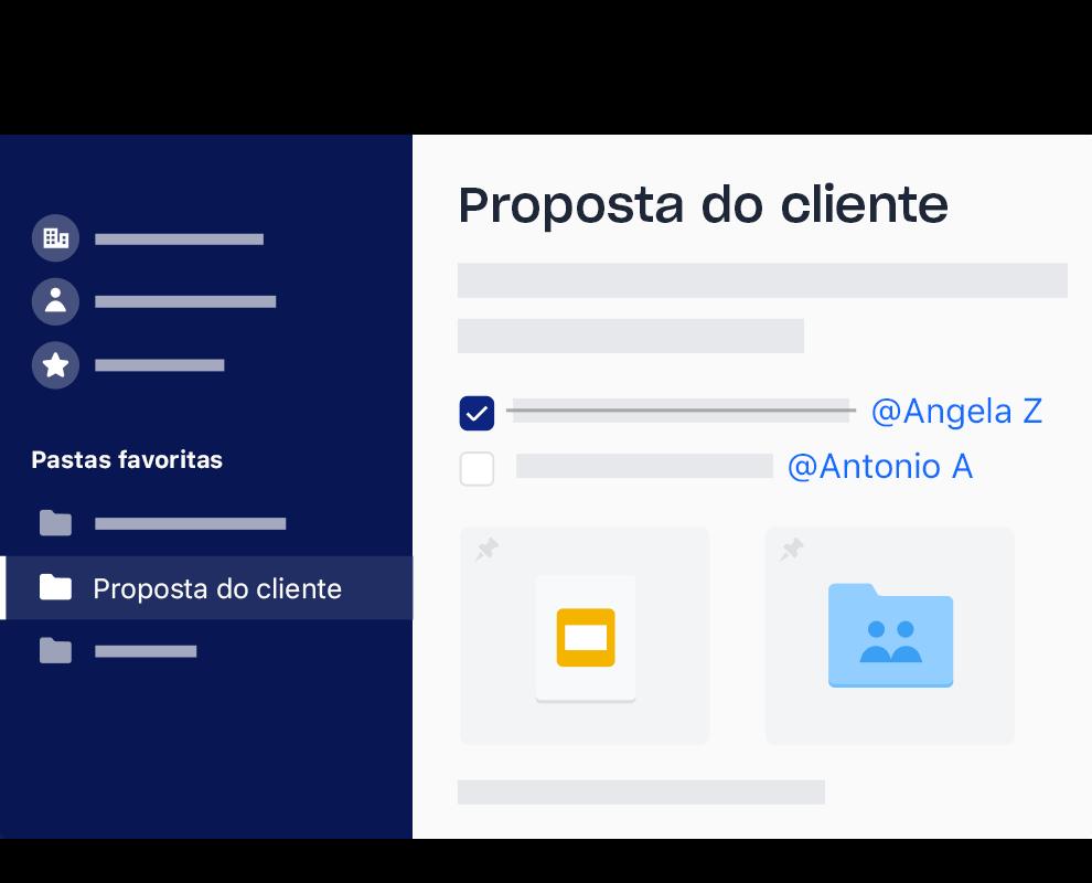 A interface do Dropbox de uma lista de tarefas de exemplo com itens marcados e atribuídos a nomes diferentes.
