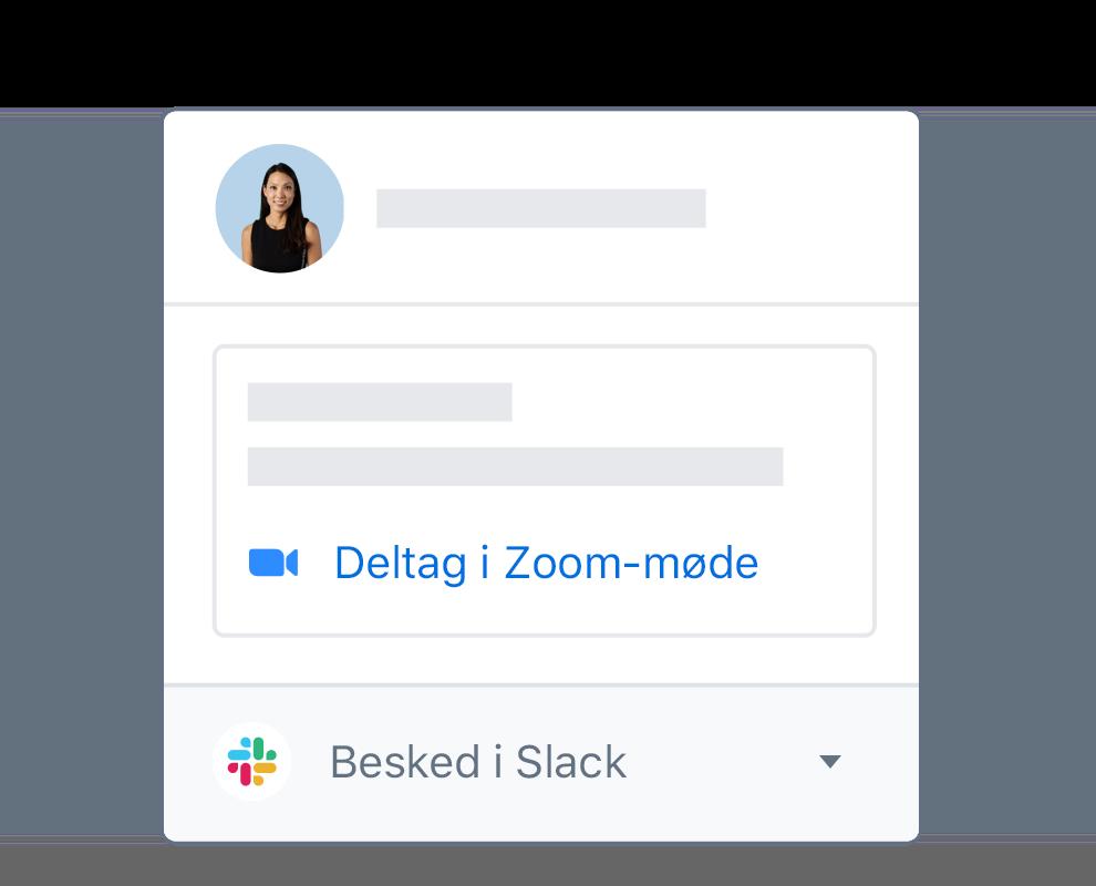 En brugerprofil på Dropbox, der har integrerede muligheder for at deltage i et Zoom-møde eller skrive en besked på Slack.