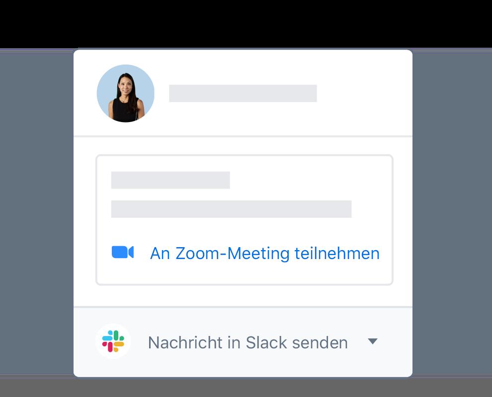 Ein Dropbox-Nutzerprofil mit integrierten Optionen, um an einem Zoom-Meeting teilzunehmen oder über Slack zu schreiben.