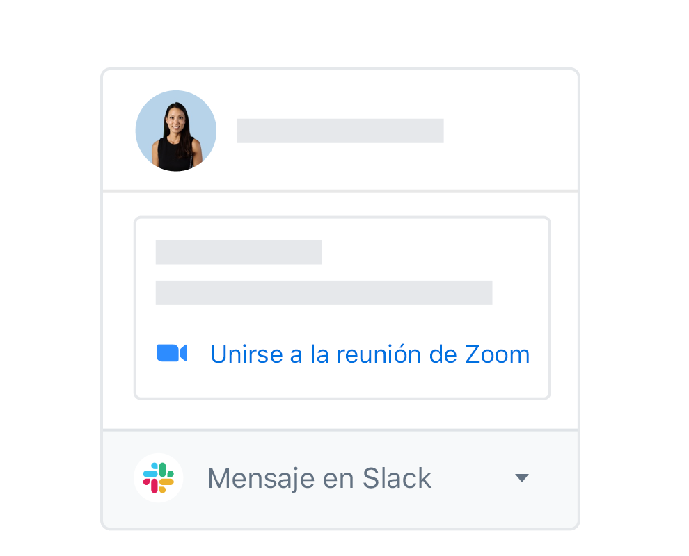 Un perfil de usuario de Dropbox con opciones integradas para unirse a una reunión en Zoom o mensaje en Slack.