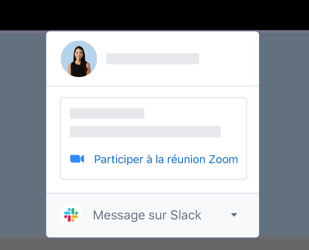 Profil utilisateur Dropbox avec options intégrées permettant de rejoindre une réunion Zoom ou d'envoyer un message dans Slack
