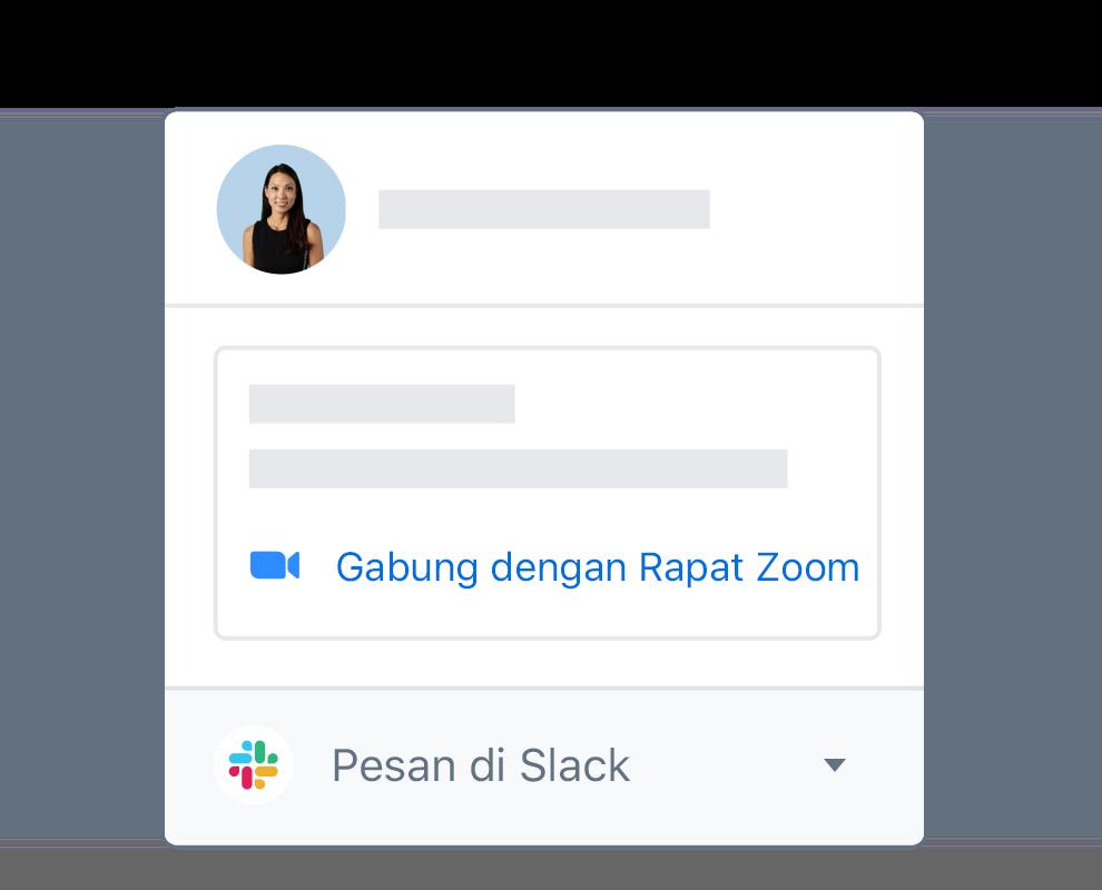 Profil pengguna Dropbox dengan opsi terintegrasi untuk mengikuti rapat Zoom atau menggunakan pesan di Slack.