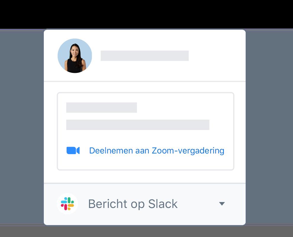 Een Dropbox-gebruikersprofiel met geïntegreerde opties om deel te nemen aan een Zoom-vergadering of bericht op Slack.