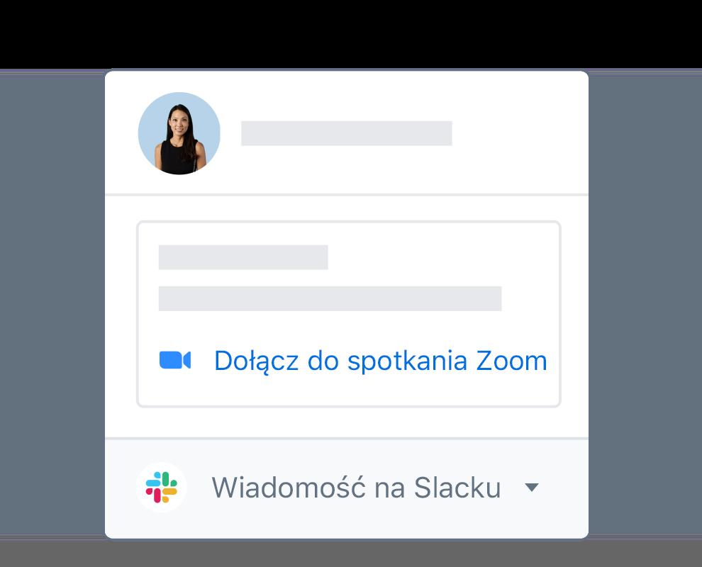Profil użytkownika Dropboxa ze zintegrowaną opcją dołączenia do spotkania Zoom lub wysłania wiadomości na Slacku.
