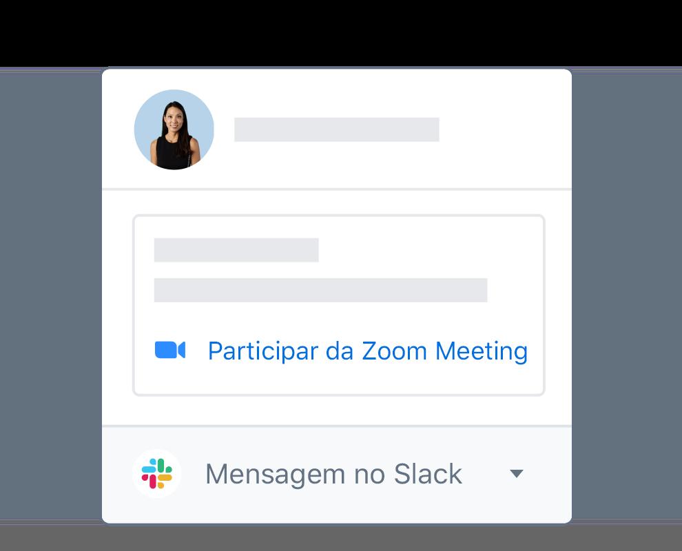 Um perfil de usuário do Dropbox com opções integradas para participar de uma reunião do Zoom ou mensagem no Slack.