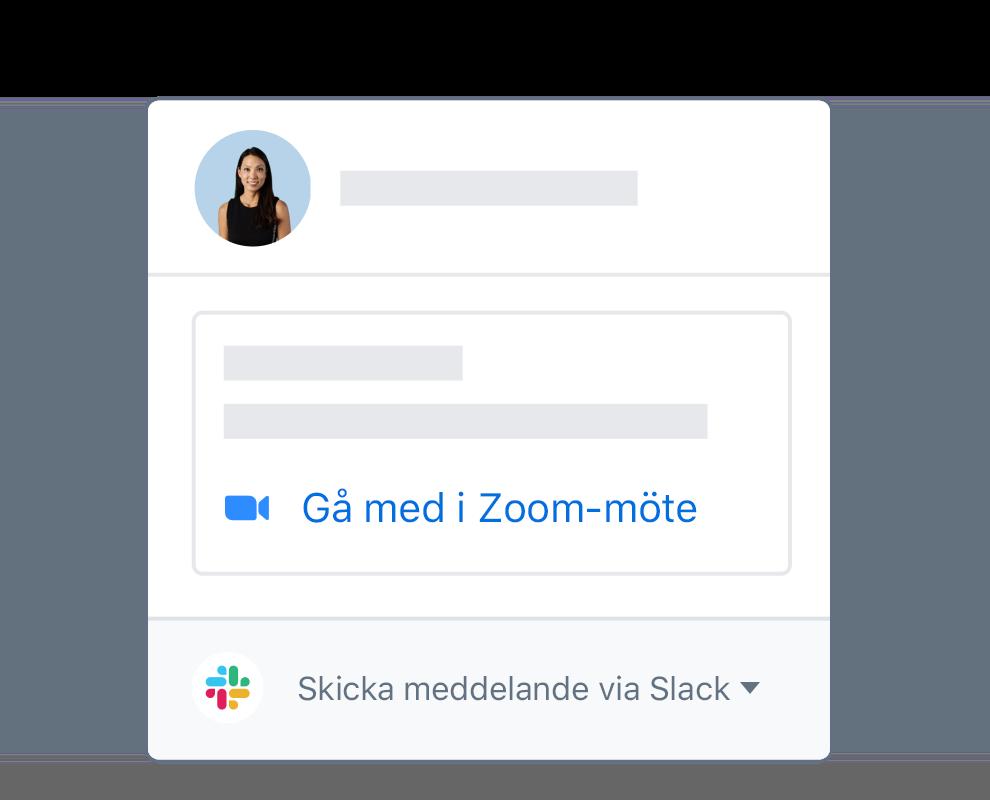 En Dropbox-användarprofil med integrerade alternativ för att gå med i Zoom-möten eller meddelande på Slack.
