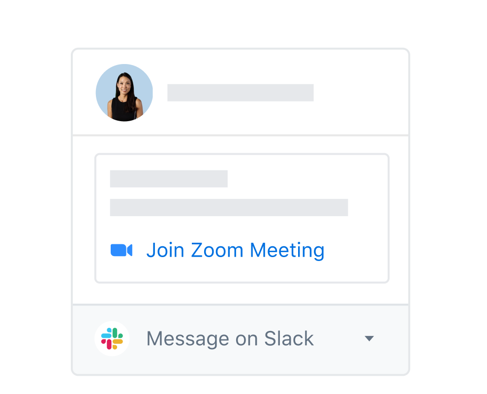 A Dropbox user profile with integrated options to join a Zoom meeting or message on Slack.