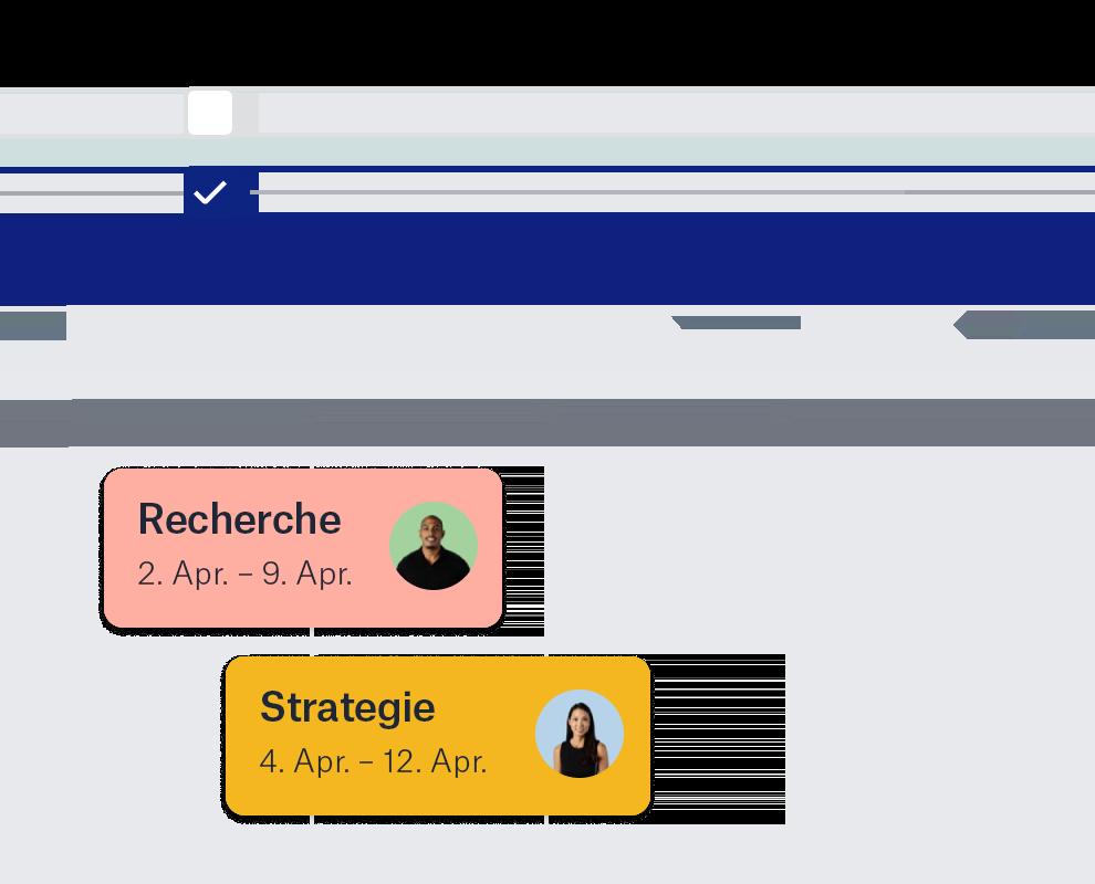 """Die Funktion """"Zeitachse"""" von Dropbox mit Symbolen und Daten anderer Nutzer."""