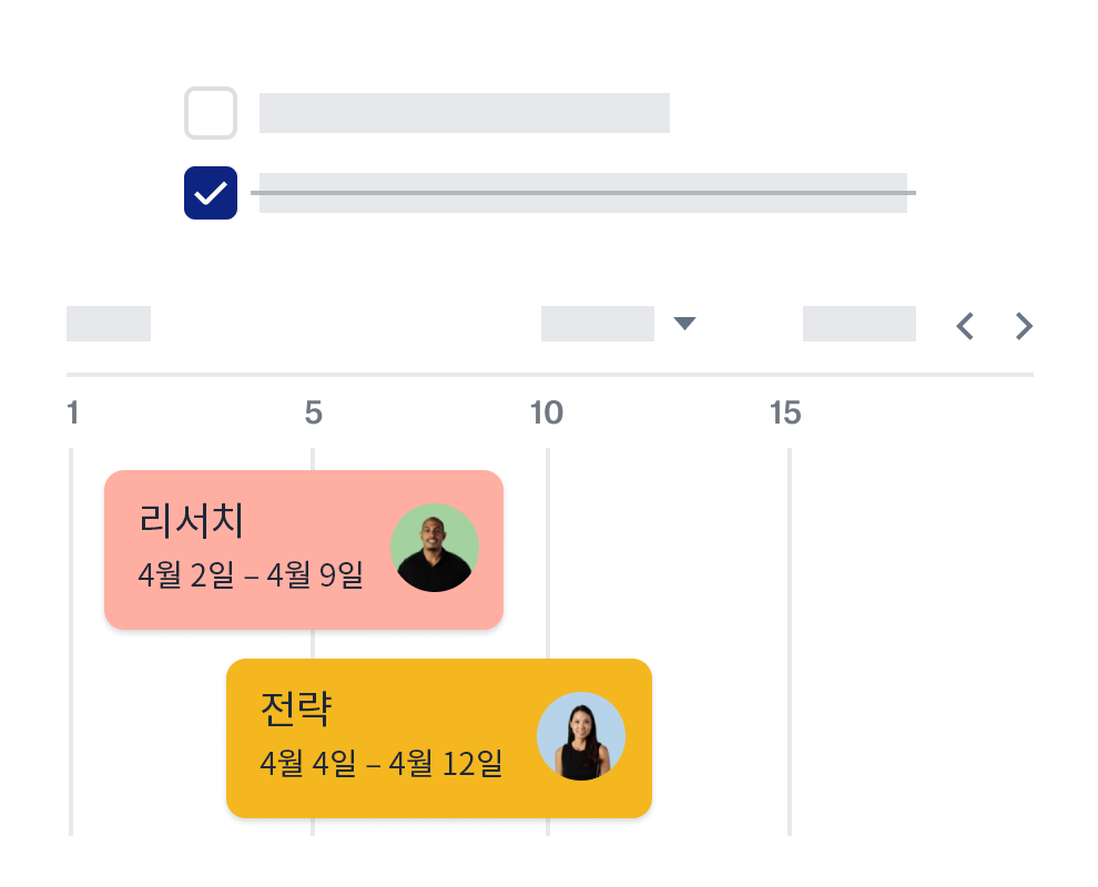 공동 작업자 아이콘과 날짜가 표시된 Dropbox 타임라인 기능.