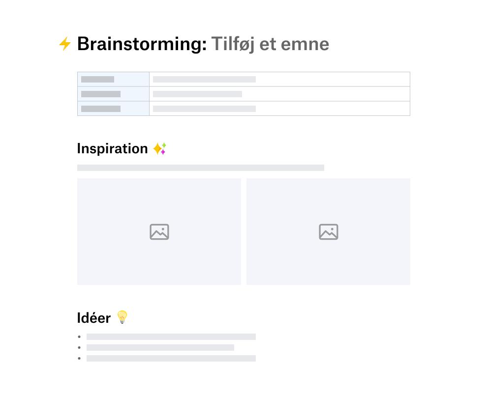 Skabelon til brainstorming, der er opdelt i sektioner til inspiration og idéer