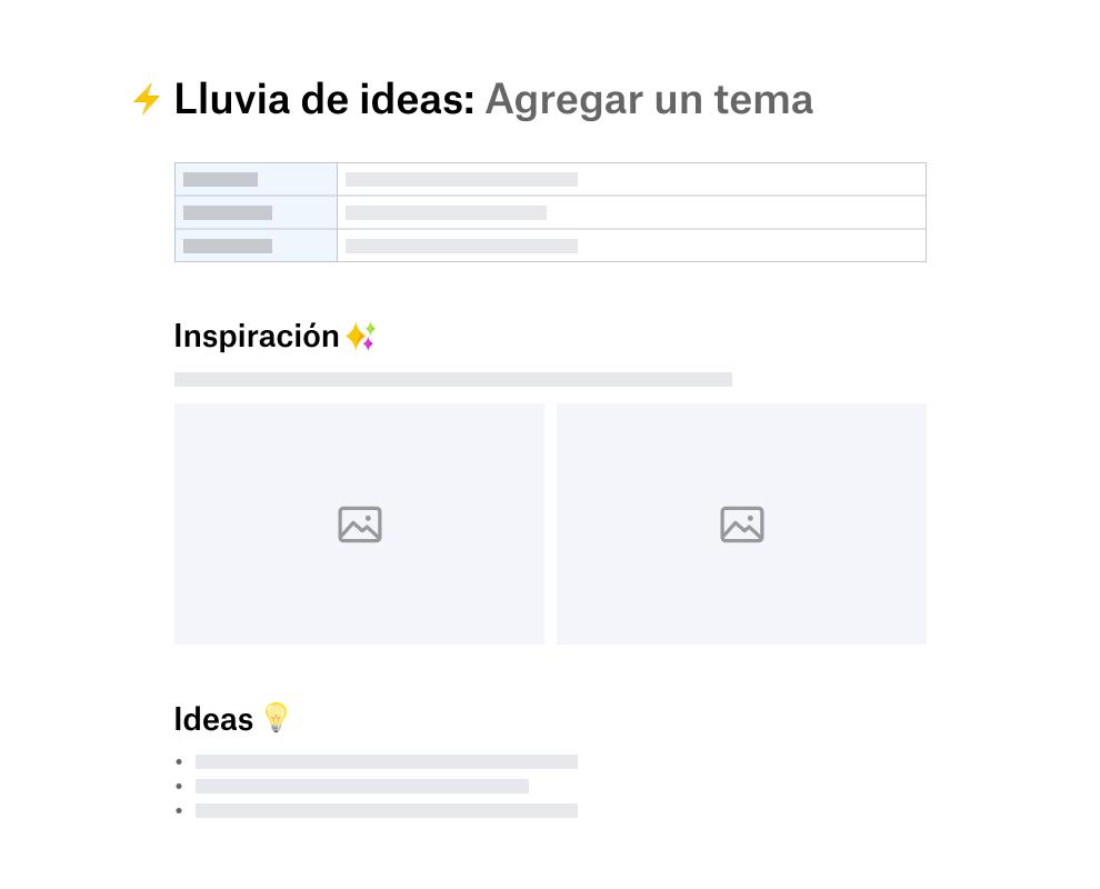 Plantilla para lluvia de ideas dividida en secciones para la inspiración y la recopilación de ideas