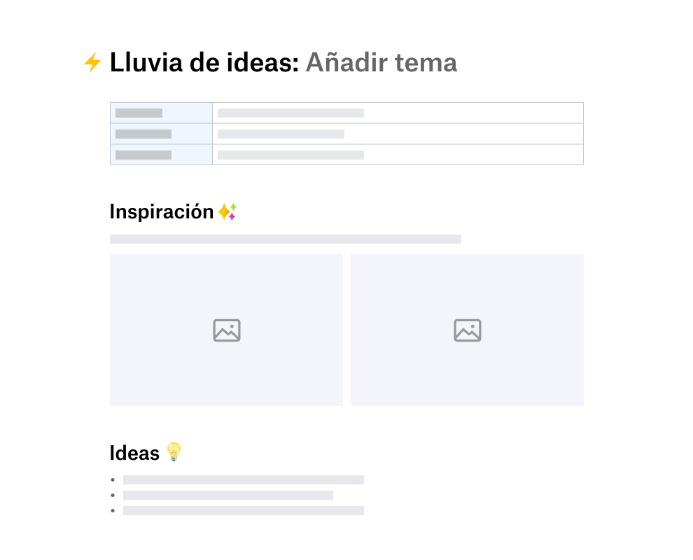 Plantilla de lluvia de ideas dividida en secciones para inspiración e ideas
