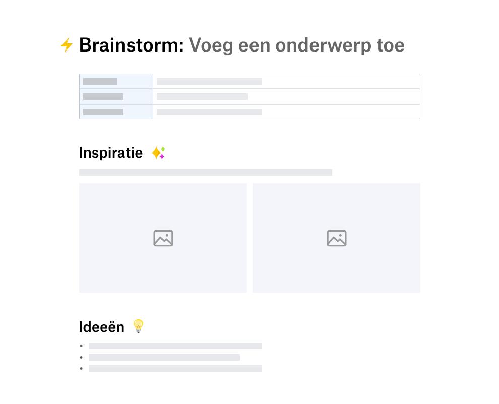 Sjabloon voor brainstormen onderverdeeld in secties voor inspiratie en ideeën