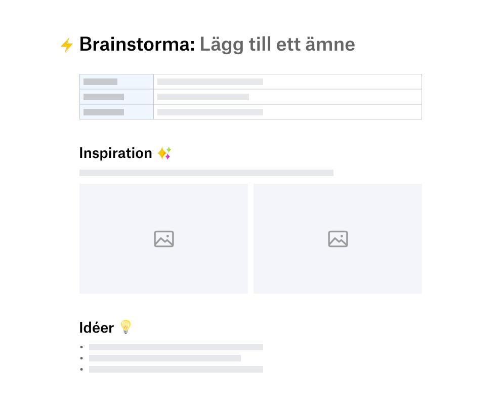Brainstormingmall uppdelad i sektioner för inspiration och idéer