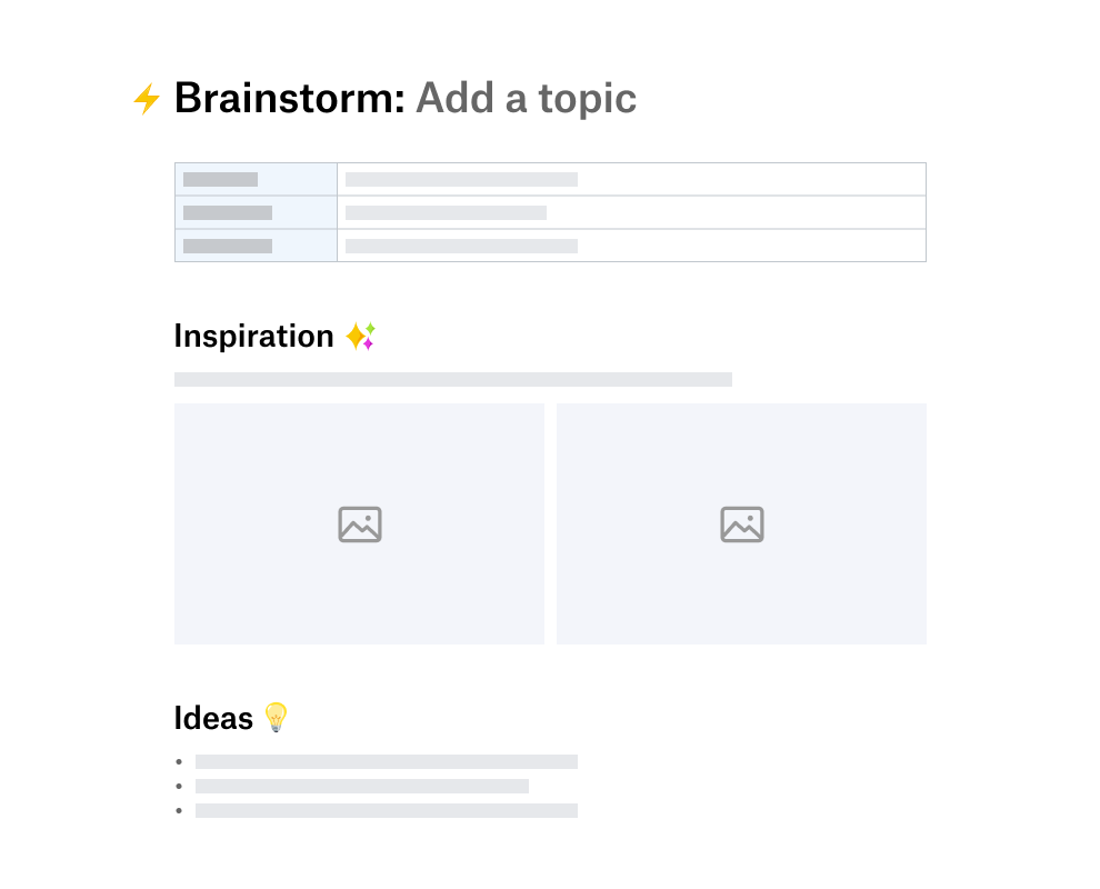 Brainstorming template divided into sections for inspiration and ideas