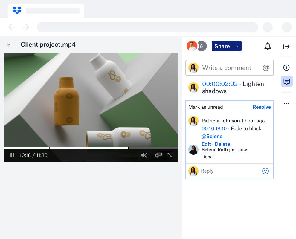 Ein Video aus einem Kundenprojekt neben einem Kommentar-Thread mit Zeitstempeln und Aktionselementen