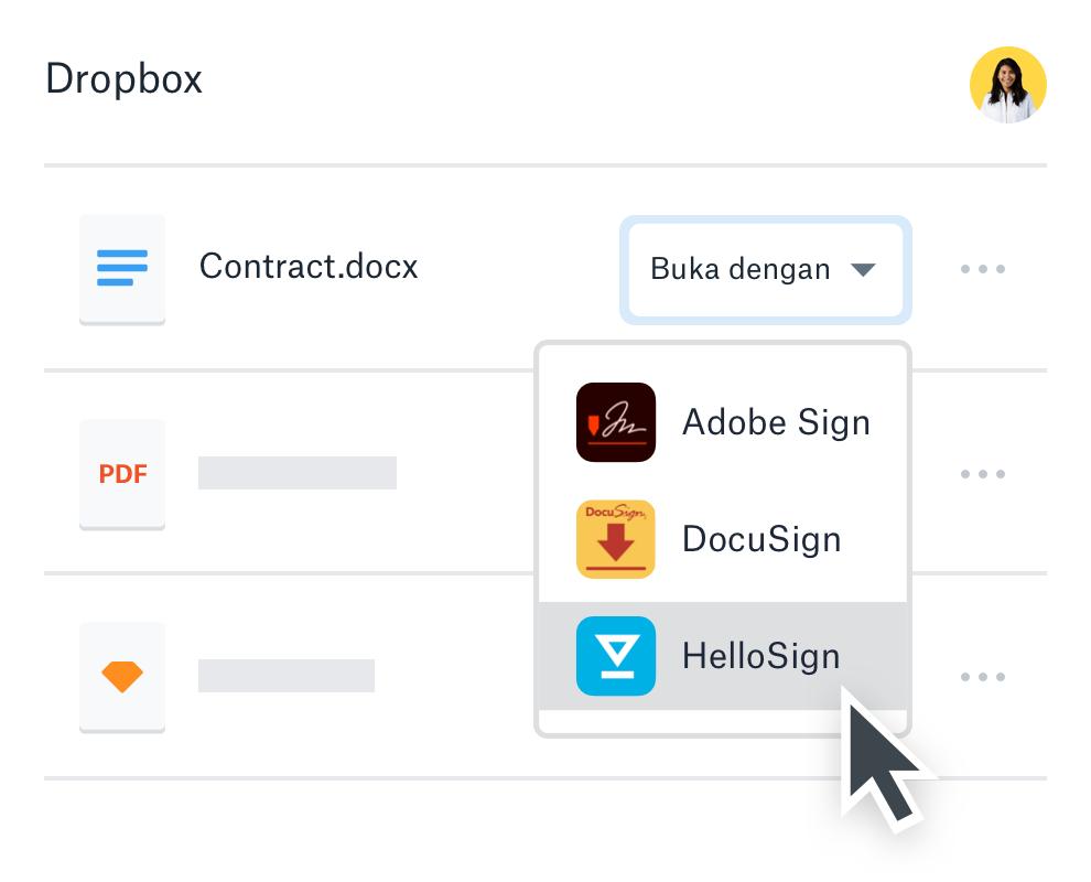 Pengguna membuka pdf dalam Dropbox menggunakan HelloSign