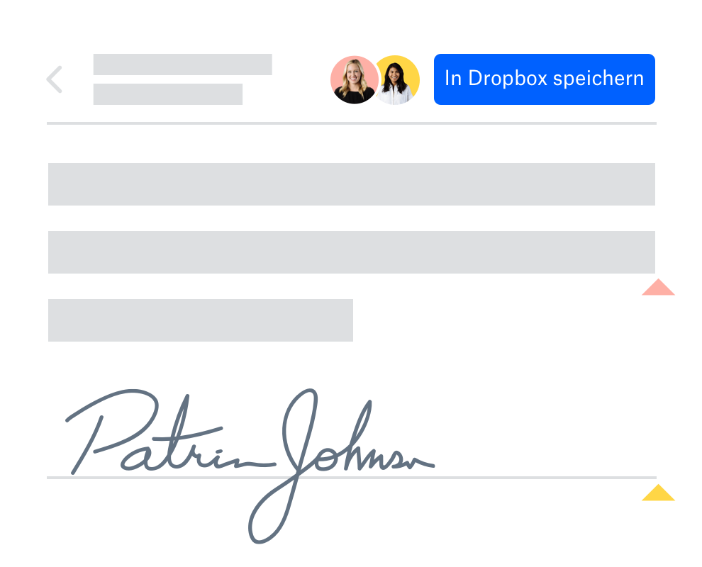 Nutzer, der ein geteiltes Dokument in Dropbox unterschrieben hat