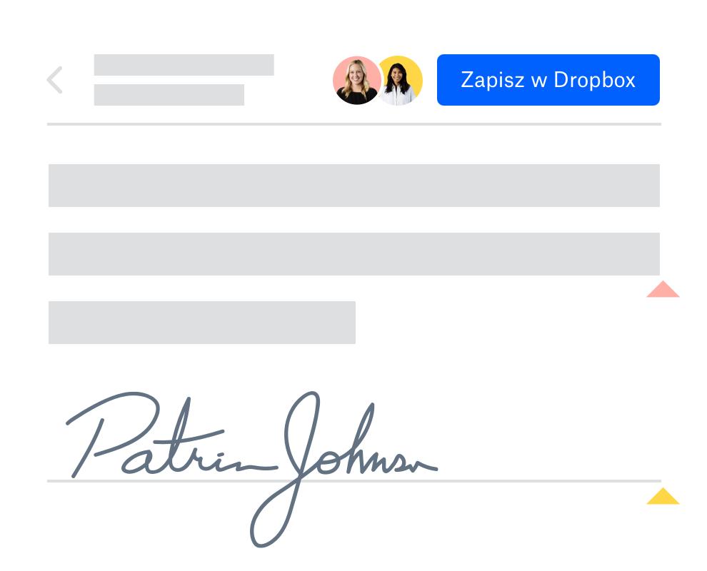 Użytkownik po podpisaniu dokumentu udostępnionego w Dropbox