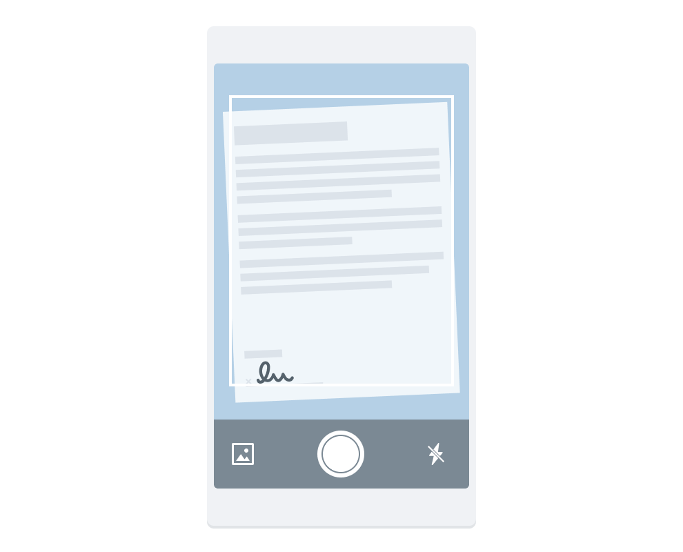 Scanner app capturing an image of a signed contract