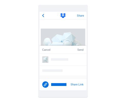 Partage de fichiers à l'aide de liens via l'application mobile