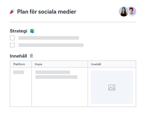 Strategi och innehållsplanering för sociala medier