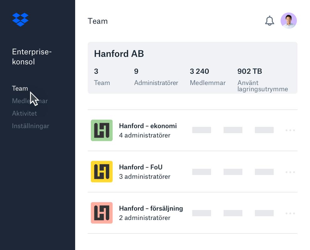 Exempel på Dropbox gränssnitt för enterprisekonsol med lista över undergrupper.