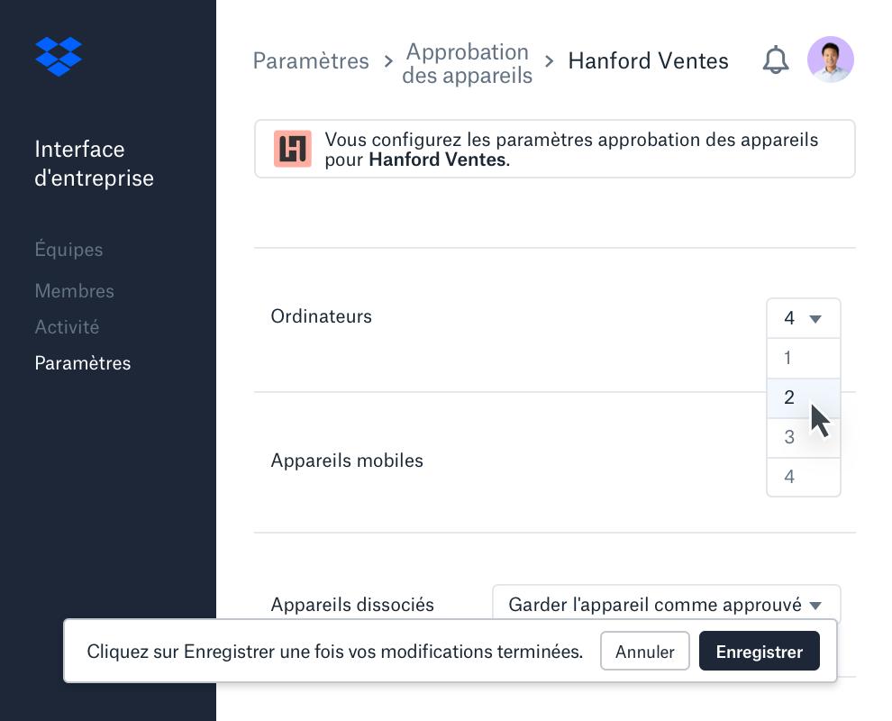 Vue Approbation des appareils dans l'interface d'entreprise Dropbox affichant le nombre d'appareils autorisés par membre d'équipe