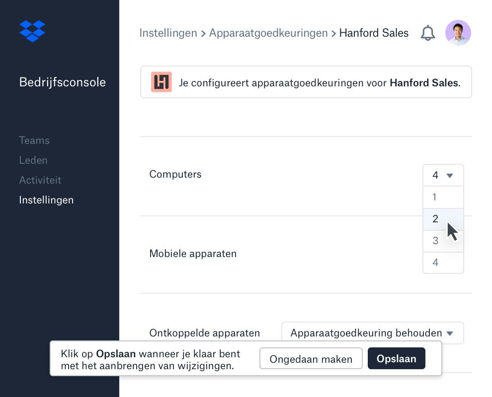 De interface voor apparaatgoedkeuringen binnen de bedrijfsconsole van Dropbox geeft het aantal toegestane apparaten per teamlid weer.