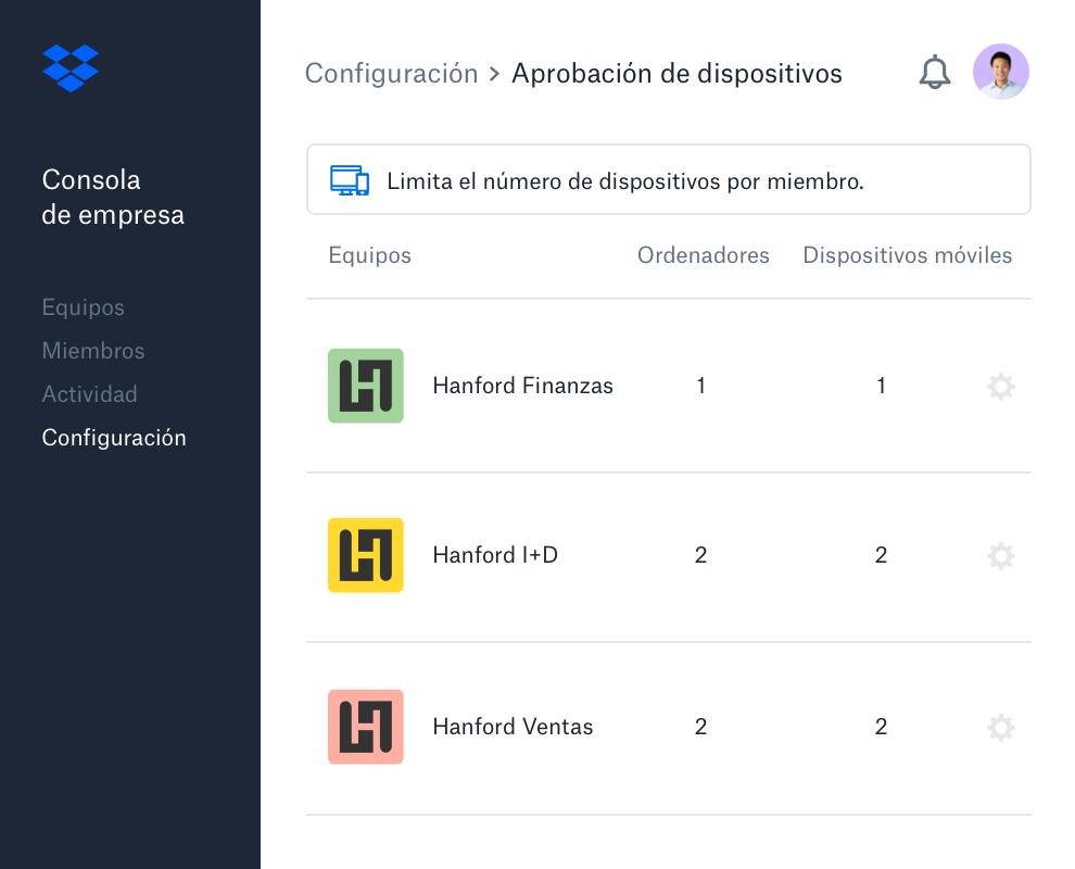 Interfaz de aprobación de dispositivos dentro de la consola de empresa de Dropbox.