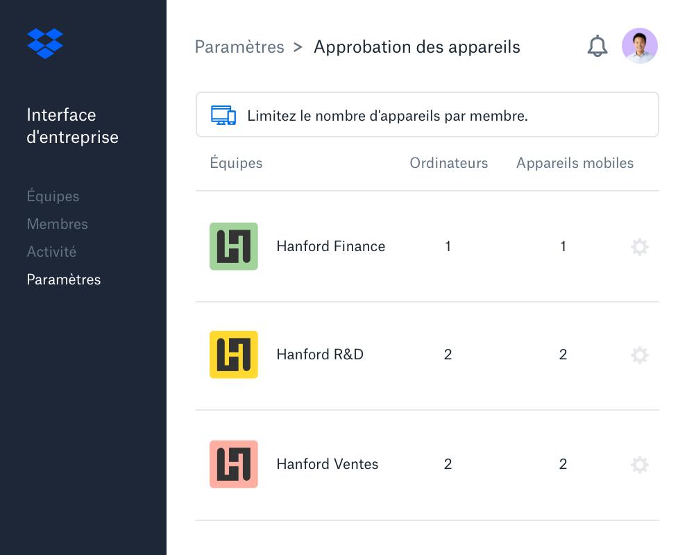 Vue Approbation des appareils dans l'interface d'entreprise Dropbox